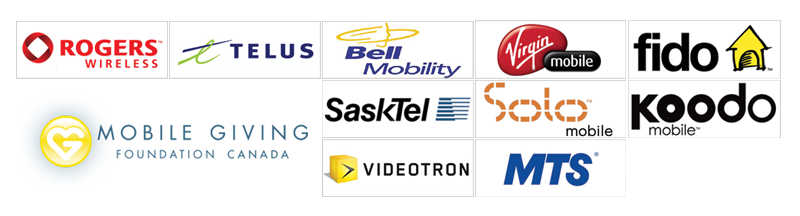 Mobile Giving Foundation Logo and Mobile Carriers Logos